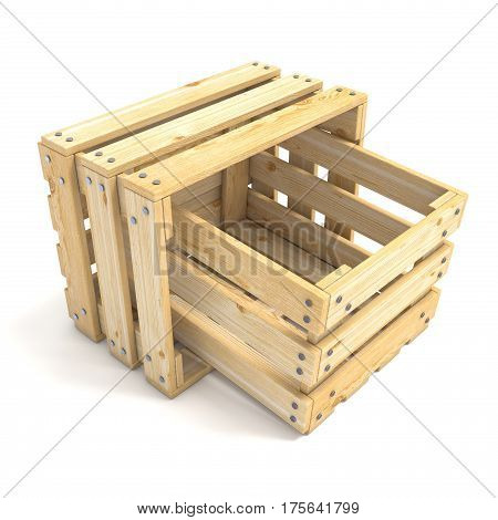 Two empty wooden crate Side view 3D render illustration isolated on white background