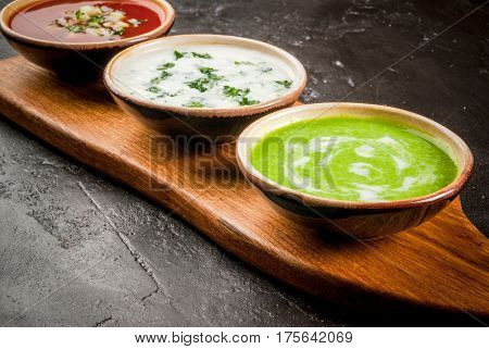 Selection Of Cold Refreshing Summer Soups