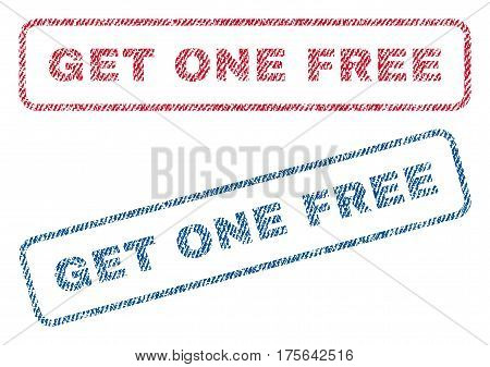 Get One Free text textile seal stamp watermarks. Blue, red fabric vectorized texture. Vector tag inside rounded rectangular shape. Rubber sign with fiber textile structure.