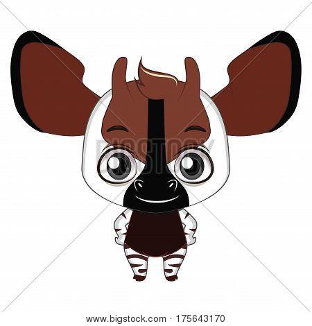 Cute Stylized Cartoon Okapi Illustration ( For Fun Educational Purposes, Illustrations Etc. )