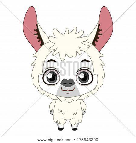 Cute Stylized Cartoon Llama Illustration ( For Fun Educational Purposes, Illustrations Etc. )