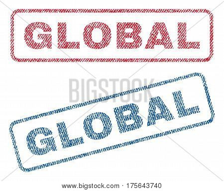 Global text textile seal stamp watermarks. Blue, red fabric vectorized texture. Vector tag inside rounded rectangular shape. Rubber sign with fiber textile structure.