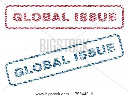 Global Issue text textile seal stamp watermarks. Blue, red fabric vectorized texture. Vector caption inside rounded rectangular shape. Rubber emblem with fiber textile structure.