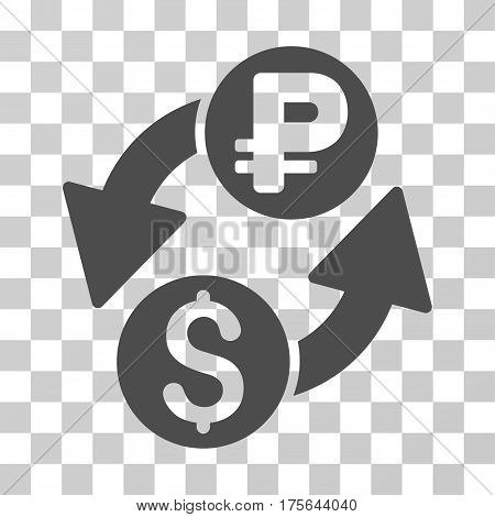 Dollar Rouble Exchange icon. Vector illustration style is flat iconic symbol gray color transparent background. Designed for web and software interfaces.