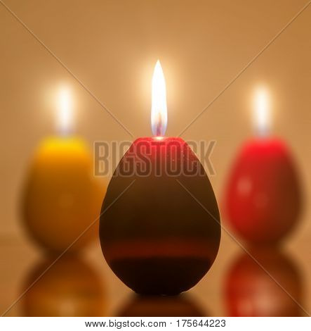 Easter Candles Egg Shape With Flame, Candles Light.