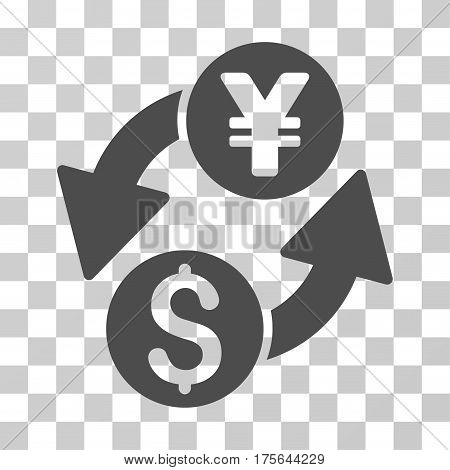 Dollar Yen Exchange icon. Vector illustration style is flat iconic symbol gray color transparent background. Designed for web and software interfaces.