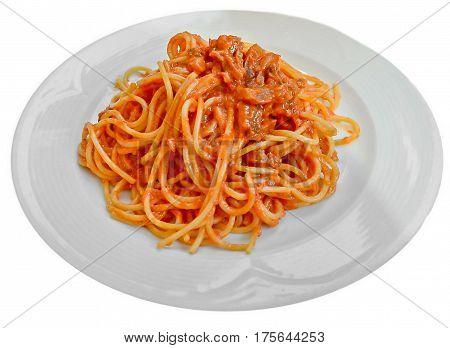 Spaghetti arrabiata on a white plate close up isolated