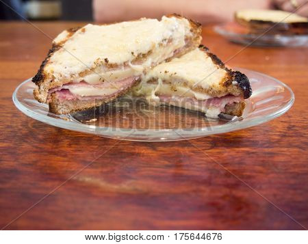 Croque Monsieur French Grilled Ham And Cheese Sandwich