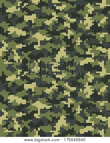 Seamless pattern of digital green camouflage, illustration