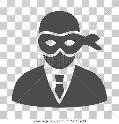 Masked Thief icon. Vector illustration style is flat iconic symbol, gray color, transparent background. Designed for web and software interfaces.