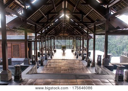 08.10.2015 Bali Indonesia the lobby area of Mandapa Ritz Carlton Reserve at sunset