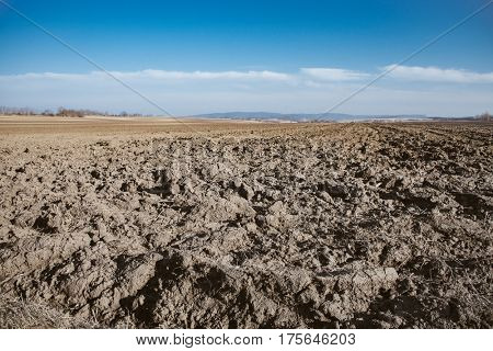 Plow land, blue sky over cultivated field