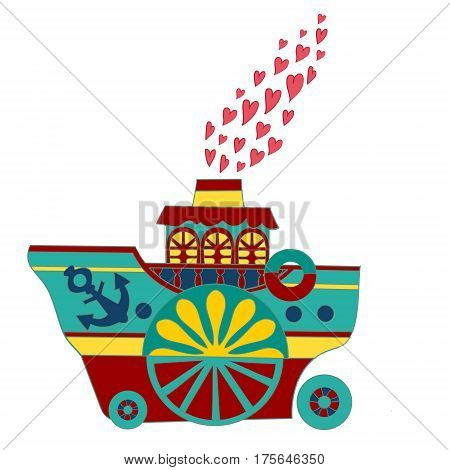 Love boat, funny children's book illustration. Abstract vector illustration with steamship and hearts.