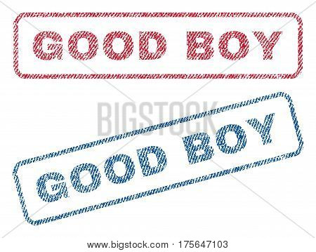Good Boy text textile seal stamp watermarks. Blue, red fabric vectorized texture. Vector tag inside rounded rectangular shape. Rubber sign with fiber textile structure.