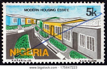 NIGERIA - CIRCA 1986: a stamp printed in Nigeria shows Modern housing development circa 1986