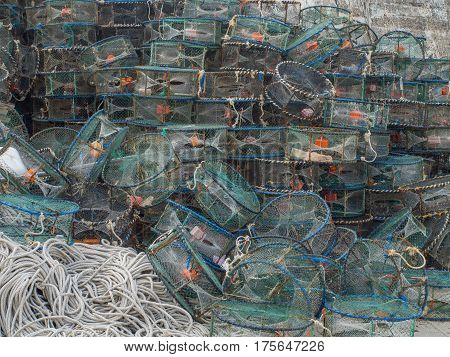 Cages for catching crabs and shrimps in the fishing port of Fuji.