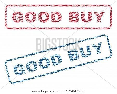 Good Buy text textile seal stamp watermarks. Blue, red fabric vectorized texture. Vector caption inside rounded rectangular shape. Rubber sticker with fiber textile structure.