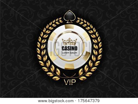 VIP poker luxury white and golden chip vector casino logo concept. Royal poker club emblem with crown laurel wreath and spade on black floral pattern cloth background