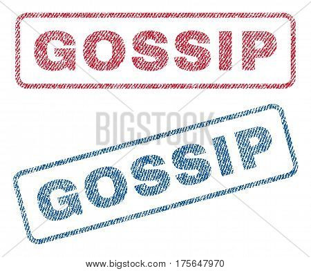 Gossip text textile seal stamp watermarks. Blue, red fabric vectorized texture. Vector tag inside rounded rectangular shape. Rubber emblem with fiber textile structure.