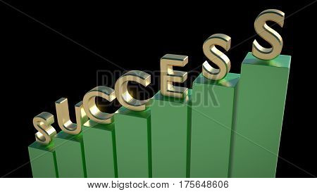 SUCCESS written in 3D golden letters on top of green chart poles going up. Moving up, business, financial success. 3D render.
