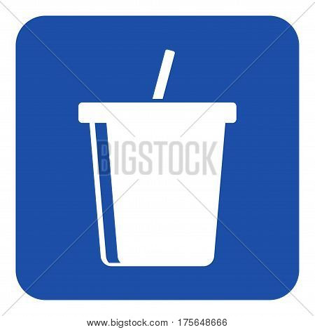 blue rounded square information road sign - white cold drink with straw icon