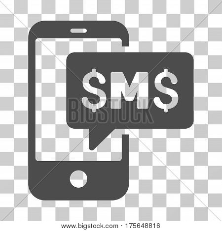 Phone SMS icon. Vector illustration style is flat iconic symbol, gray color, transparent background. Designed for web and software interfaces.