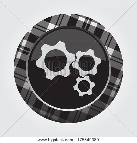black isolated button with gray black and white tartan pattern on the border - light gray three cogwheel icon in front of a gray background