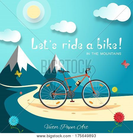 Vector poster of Let's ride a bike in the mountains on the gradient blue background with bicycle road sun clouds mountains flowers and butterflies.