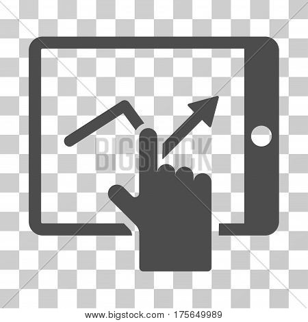 Tap Trend On PDA icon. Vector illustration style is flat iconic symbol, gray color, transparent background. Designed for web and software interfaces.