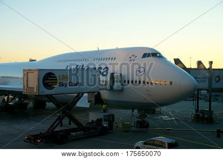 FRANKFURT, GERMANY - JAN 20th, 2017: Boeing 747-8 of Lufthansa parked at the gate, ready for boarding. Lufthansa is a German airline and also the largest airline in Europe.