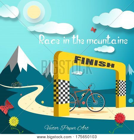 Vector poster of Race in the mountains on the gradient blue background with bicycle finish gate road sun clouds mountains flowers and butterflies.