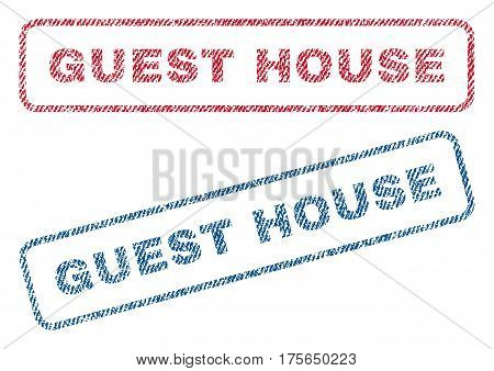 Guest House text textile seal stamp watermarks. Blue, red fabric vectorized texture. Vector tag inside rounded rectangular banner. Rubber emblem with fiber textile structure.
