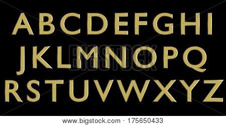 English alphabet in gold upper case letters, custom 3D font variant.