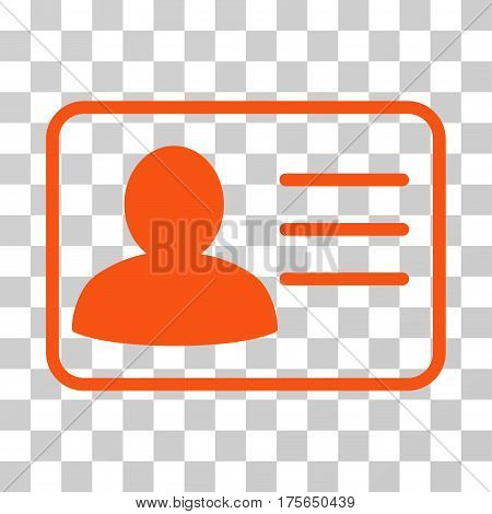 Account Card icon. Vector illustration style is flat iconic symbol, orange color, transparent background. Designed for web and software interfaces.
