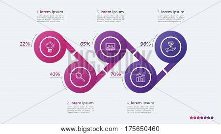 Timeline Vector Infographic Design With Ellipses 5 Steps