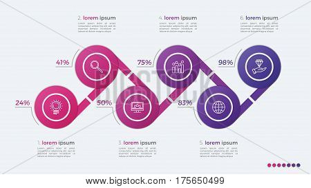Timeline Vector Infographic Design With Ellipses 6 Steps