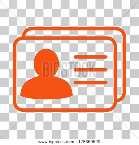 Account Cards icon. Vector illustration style is flat iconic symbol, orange color, transparent background. Designed for web and software interfaces.