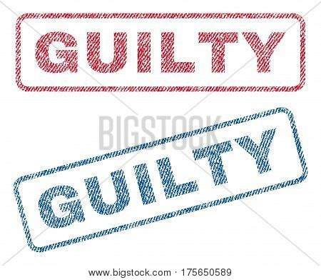 Guilty text textile seal stamp watermarks. Blue, red fabric vectorized texture. Vector tag inside rounded rectangular shape. Rubber emblem with fiber textile structure.