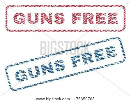 Guns Free text textile seal stamp watermarks. Blue, red fabric vectorized texture. Vector caption inside rounded rectangular banner. Rubber sticker with fiber textile structure.