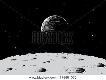 view to Earth from surface of the moon.Hand drawn vector illustration