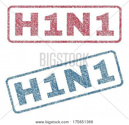 H1N1 text textile seal stamp watermarks. Blue, red fabric vectorized texture. Vector caption inside rounded rectangular shape. Rubber sign with fiber textile structure.