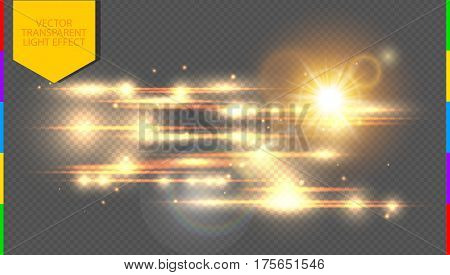 Vector golden special effect. Glowing streaks on transparent background. Beautiful glow light lens flare and spark. Luminous abstract sparkling lined night disco club