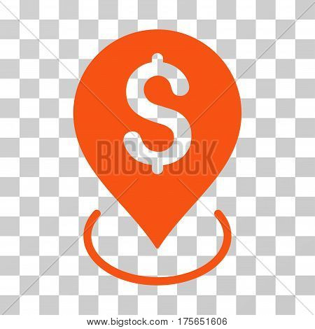 Bank Placement icon. Vector illustration style is flat iconic symbol, orange color, transparent background. Designed for web and software interfaces.