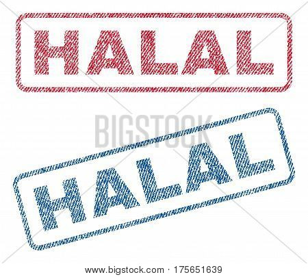 Halal text textile seal stamp watermarks. Blue, red fabric vectorized texture. Vector caption inside rounded rectangular shape. Rubber sign with fiber textile structure.