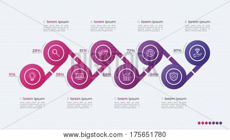 Timeline Vector Infographic Design With Ellipses 8 Steps
