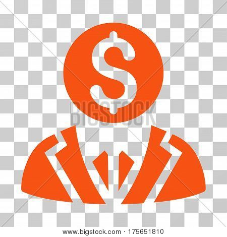 Banker icon. Vector illustration style is flat iconic symbol, orange color, transparent background. Designed for web and software interfaces.