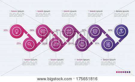 Timeline Vector Infographic Design With Ellipses 9 Steps