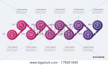 Timeline Vector Infographic Design With Ellipses 10 Steps