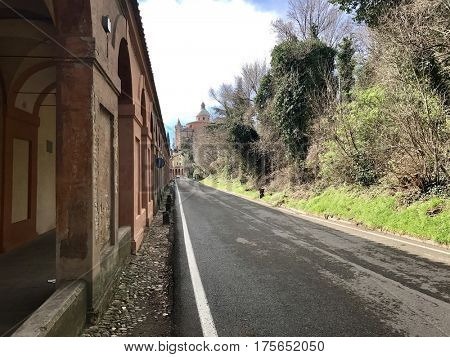 BOLOGNA - MARCH 7, 2017: The Portico di San Luca connecting Porta Saragozza with the San Luca Sanctuary, on Colle della Guardia in Bologna, Italy.