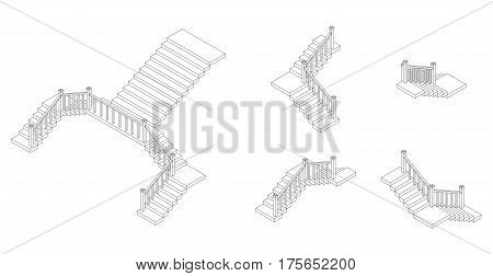 Isometric outline stairs plan with a railings. Vector illustration.